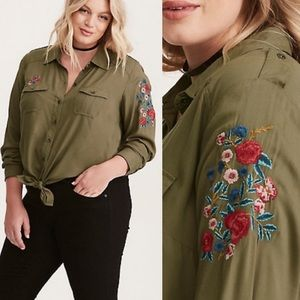 Torrid Army Green Twill Shirt Floral Embroidery 1X